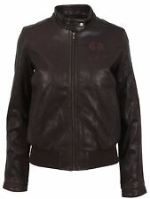 La Martina polo señora chaqueta de cuero Leather Jacket tamaño 36 s Italy 42 marrón Brown