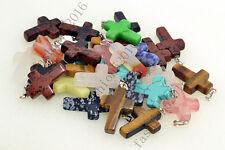 Wholesale natural mix Cross Gemstone stone Silver P Beads Pendant 10pcs/lot
