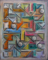 THE TOP END abstract 16x20 canvas oil painting collectible modern art Crowell US