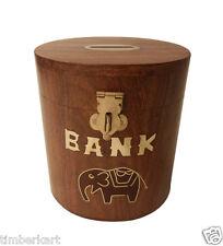 Wooden COIN BOX Money PIGGY BANK Oval Kids Home Decorative Handicraft Gift item