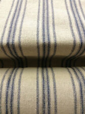 SALE Grain Sack Fabric - Cream Fabric w/12 Blue Stripes