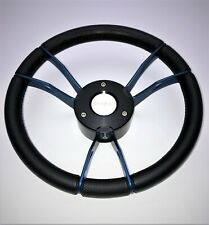 New OEM Gussi Boat Steering Wheel Blue Spokes Soft Touch Rim KEYED Hub