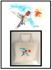 Painted Hummingbird Handprinted Custom Tote Bag