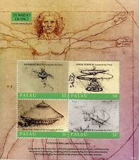Palau Art Stamps 2018 MNH Leonardo Da Vinci Inventions Famous People 4v M/S