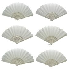 Spanish Style Wedding Party Folding White Flower Pattern Hand Fan 6 Piece Set