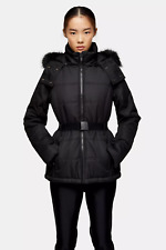 Topshop Womens Black Ski Jacket Hooded UK 6 8 10 12 16