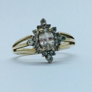 Gems Tv 9ct Yellow Gold Champagne Zircon & White Topaz Ring - Size N (With COA)