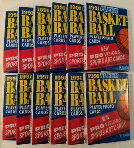 Lot x 12 1991 Fleer NBA Basketball Wax Packs - Look For Michael Jordan Cards