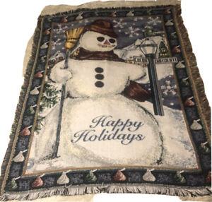 Snowman Happy Holidays Acrylic Fringe Throw Blanket Northwest Company Chocolate