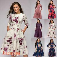 Jiaemupa Women Retro Tunic 3/4 Sleeve Floral Print Bodycon Dresses Vintage Dress