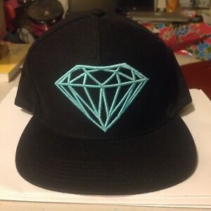 Diamond Supply Co. Embroidered Logo Adjustable Snap Back Hat Black Blue OSFA