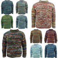 Wool Jumper Space Dye Mix Chunky Knit Knitted Sweater Pullover Rolled Crew Neck