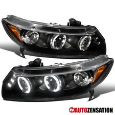 Fit 06-11 Honda Civic 2Dr Coupe Black LED DRL Halo Projector Headlights