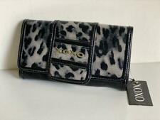 NEW! XOXO HOTLIST BLACK GREY LEOPARD CLUTCH CHECKBOOK WALLET PURSE $34 SALE