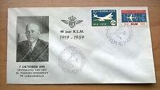FDC E40, 40 jaar KLM, afwijkende cover Plesman-monument, nvph 729/730