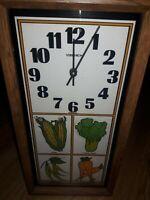 "VINTAGE VERICHRON WALL CLOCK Vegitables Kitchen Clock 19.5""x10"" USA Made WORKS"