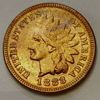 1883 Indian Head Cent Grading AU/UNC RED Nice Coin Priced Right FREE S&H   i87