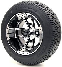 "Golf Cart Wheels and Tires Combo - 10"" Madjax Apex Machine/Black - Set of 4"