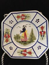 Quimper Mistral Blue Bread & Butter Plate -Woman