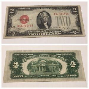 VINTAGE 1928-E $2 UNITED STATES NOTE TWO DOLLAR BILL JEFFERSON RED SEAL VINSON