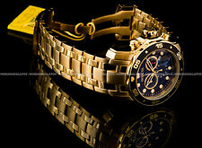 Invicta Pro Diver Scuba 18K Gold Plated Black Dial Chrono S.S Bracelet Watch NEW