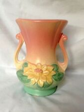HULL ART POTTERY WATER LILY DOUBLE HANDLED VASE PINK & TURQUOISE MODEL L4 VTG