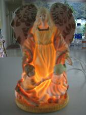 Vintage Guardian Angel & Children Porcelain Bisque Night Light Accent Lamp Works
