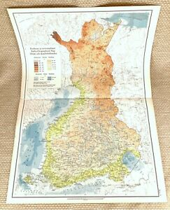 1925 Antique Map of Finland Finnish Bathy orographic bathymetric orographical