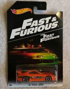 Hot Wheels 2017 Walmart Exclusive Fast and Furious '94 Toyota Supra in package.