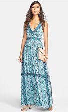 NWT Felicity & Coco Border Print Chiffon Maxi Dress S Pop Aztec
