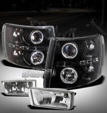 07-12 CHEVY SILVERADO PICKUP TRUCK HALO LED BLACK PROJECTOR HEAD LIGHTS+FOG LAMP