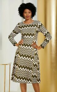 Size 16W PLUS Ashro Black Gold White Formal Church Party Zigzag Shimmer Dress