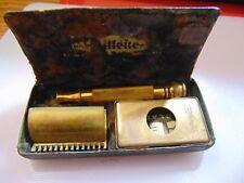 Vtg 1930s Gillette Gold Tone Safety Razor With Original Case