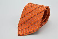 Barneys New York Made in Italy Necktie Tie Orange Flowers Floral Yellow Blue