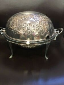 ANTIQUE WALKER & HALL SILVER PLATED ROLL TOP TUREEN/SERVER BEAUTIFUL