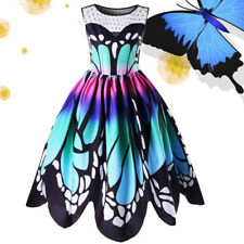 Fashion Women Butterfly Printing Sleeveless Party Dress Vintage Swing Lace Dress