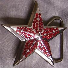 Pewter Belt Buckle Rhinestone Star red NEW