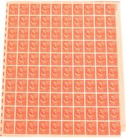 .USA AMERICAN MNH Og 1938 1/2 CENT SHEET SCOTTS #803 B. FRANKLIN. 100 STAMPS