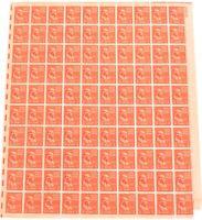 .USA AMERICAN MNH Og 1938 1/2 CENT SHEET SCOTTS #803 B. FRANKLIN. 100 STAMPS