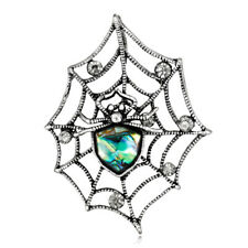 Abalone Shell Rhinestone Crystal Rhodium Plated Spider with Net Pin and Brooch