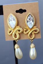 New Swarovski Clear Crystal Goldtone Faux Pearl Dangle Clip-On Earrings