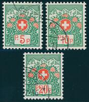 SCHWEIZ 1927, Portofreiheit, MiNr. 11-13 II x, gestempelt, Mi. 450,-