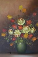 Large Colourful Roses Flowers Still Life Oil Painting on Canvas