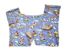 Nick & Nora Womens Knit Pajama Pants Small Blue Dog Puppies Bath Bubbles