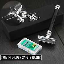 Twist opening Butterfly Style Long Handle MensDouble Edge Safety Razor in Black