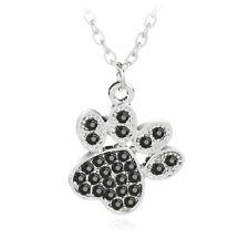 Halskette Pfote mit Kristallen Katze Hund Silber Damen Modeschmuck Anhänger NEU