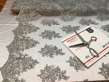 Wholesale fabric / By Roll 20 Yard / Lace Fabric Embroidered With Sequins Silver