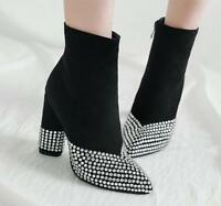 Women's High heel shoes Rhinestones Pointy toe Side zip Suede Casual Ankle boots