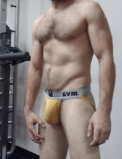 "GYM Men Jockstrap 2"" Waistband Underwear Yellow Very Similar To BIKE Size Large"