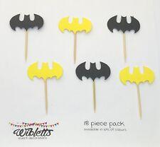 BATMAN BAT THEME BIRTHDAY, PAPER CARD CAKE CUPCAKE TOPPERS. YELLOW BLACK, LEGO